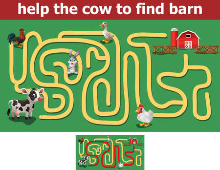 Help the cow to find barn