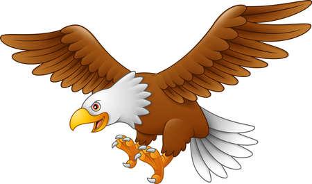 Águila de dibujos animados volando Ilustración de vector