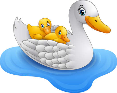 Cartoon mother duck with baby duck floats on water