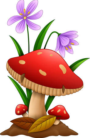 Cartoon mushroom isolated white background Standard-Bild
