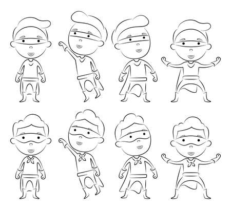 Set of superheroes cartoon character outline in different pose