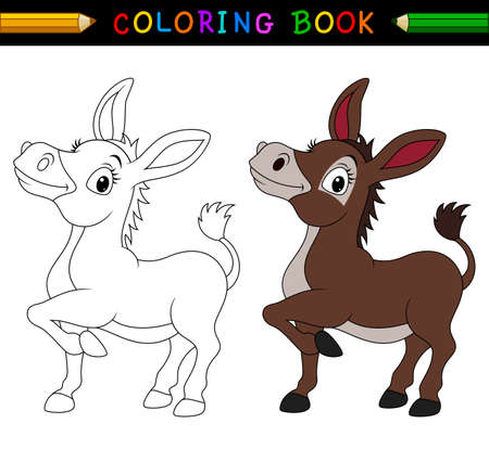 Cartoon donkey coloring book 向量圖像