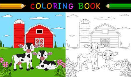 Cartoon cow coloring book