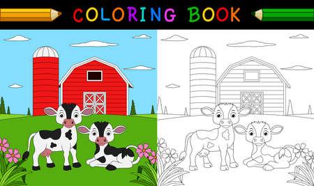 Cartoon koe kleurboek