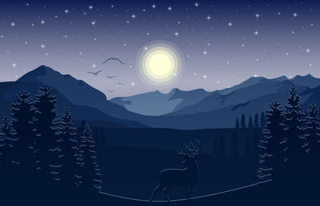 Vector illustration of Mountain landscape with deer and forest at night 矢量图像
