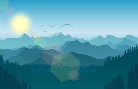 Vector illustration of Morning in mountain landscape with forest and bird flying