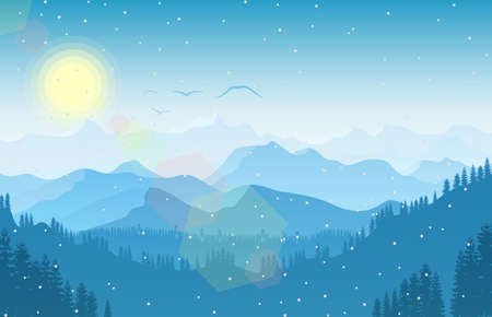 Vector illustration of Winter mountain landscape with forest and bird flying 일러스트