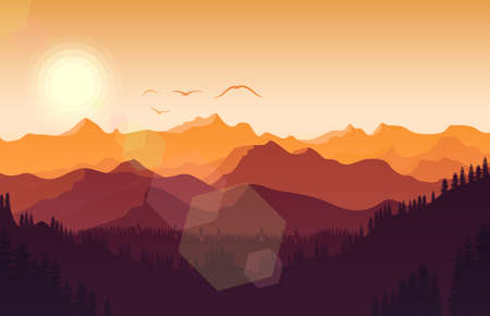 Sunset mountains landscape with forest and bird flying Иллюстрация