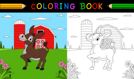 Coloring book or page. Cute donkey in the farm