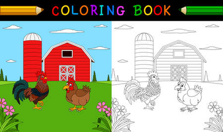 Coloring book or page. Cute rooster and hen in the farm