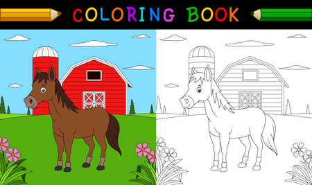 Cartoon horse coloring book