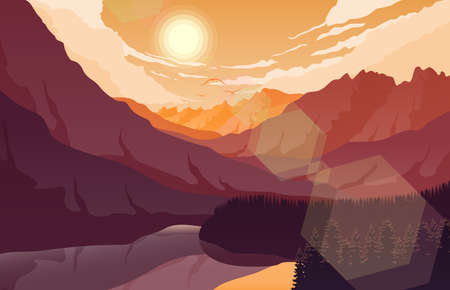 Vector illustration of Sunset mountain landscape with forest and lake