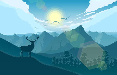 Mountains landscape with deer on the hills and lake