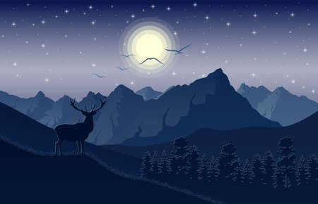 Night mountains landscape with deer on the hills and stars on the sky