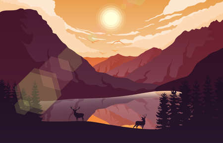 Sunset mountains landscape with forest and two deer near a lake