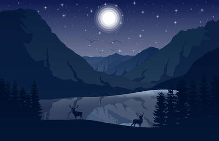 Vector illustration of Night Mountains landscape with two deer near a lake and stars on the sky