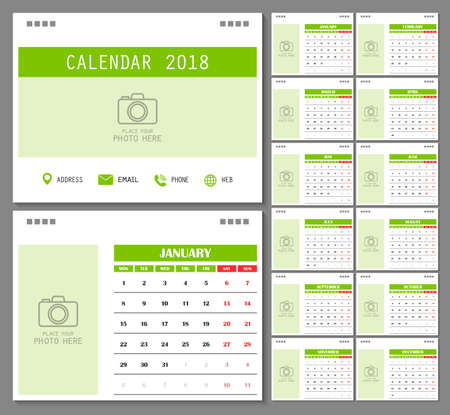 Calendar for 2018 Year. Design template with place for photo and week starts on monday