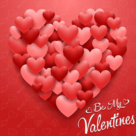 Valentines hearts card on red background