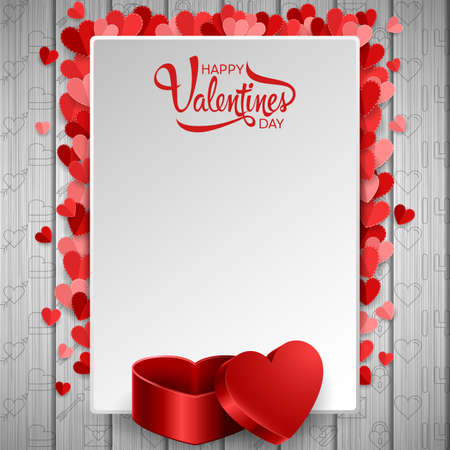 Happy valentines day background with blank paper and red heart gift box