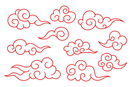 Collection of red chinese cloud symbols