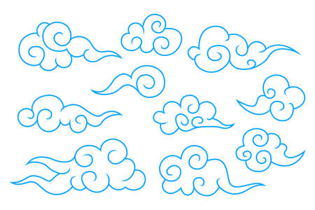 Collection of blue chinese cloud symbols Illustration