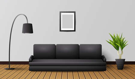 Modern living room interior with black sofa and lamp