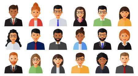 Gruppo di icone di uomini e donne di persone che lavorano Vettoriali