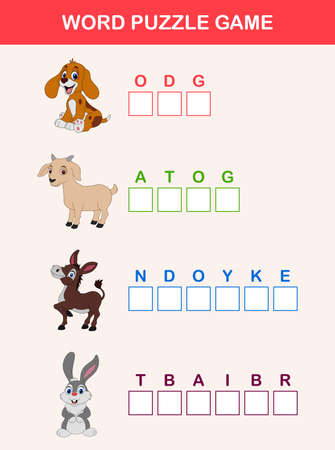 Words puzzle children educational game. Place the letters farm animals in right order