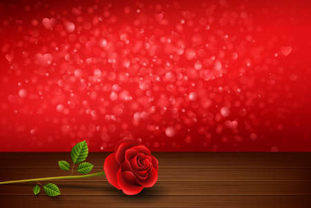 Valentines day background with roses above wooden table