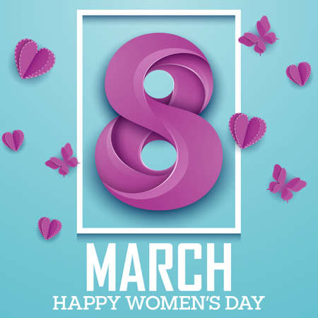 Happy international women's day greeting card with number purple eight in square frame and butterflies on blue background