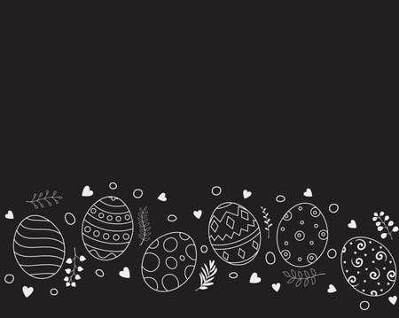 Doodle of easter eggs set collection on black background Illustration