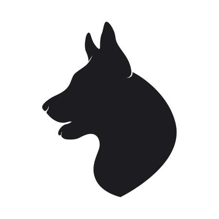 Black silhouette head of the dog on white background