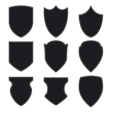 Black shield icons set on white background