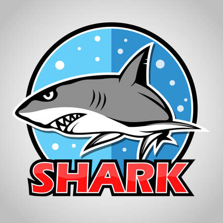 Cartoon shark mascot with blue circle Illustration