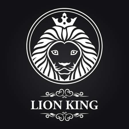 White lion king head mascot on black background