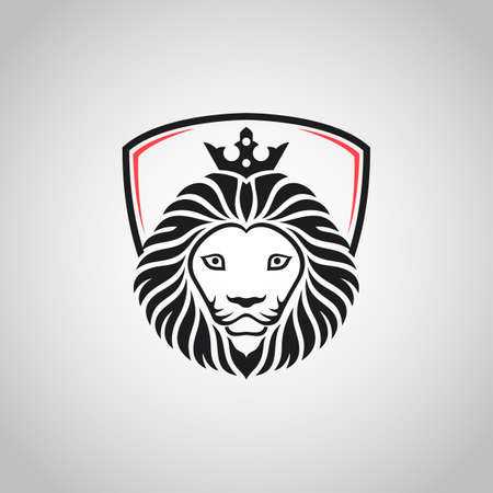 King lion head mascot on white background