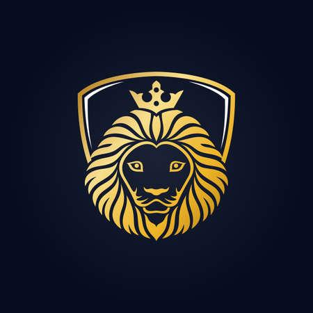 King lion head mascot on blue background Illustration