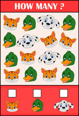 Education counting game of animals for preschool children