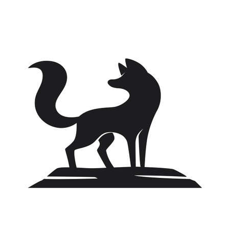 Silhouette of the fox on a white background Stock Photo