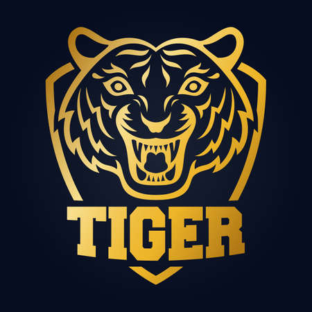 Mascot of gold tiger's head on shield background Illustration
