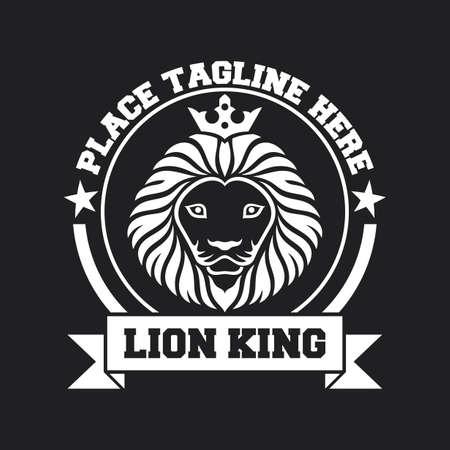 Mascot king of white lion's head on black background