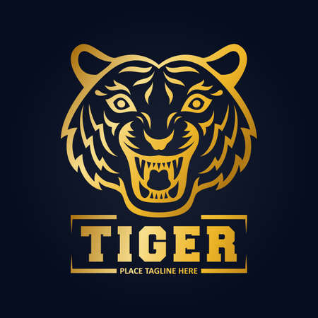 Gold tiger head mascot