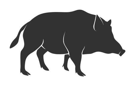 Silhouette of warthog isolated on white background Illustration