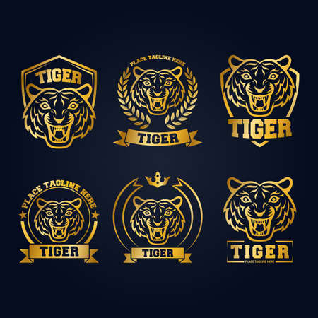 Gold tiger head mascot collection