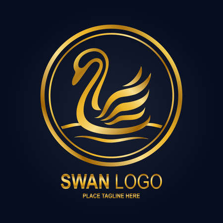 Swan icon design template. Golden swan icon