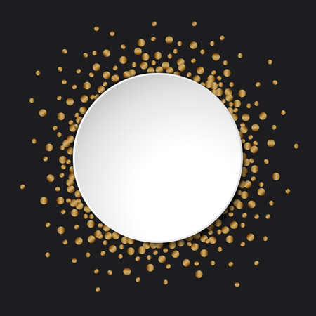 Gold glitter confetti round white banner with place for text on black background Stock Illustratie