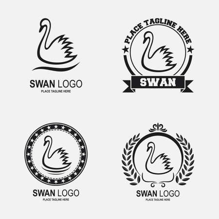 Swan icon collection set black and white Illustration