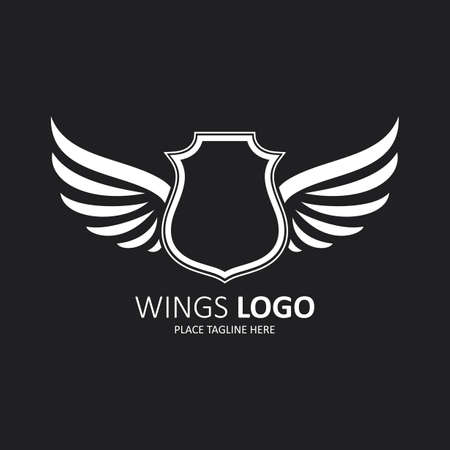 Winged shield white template