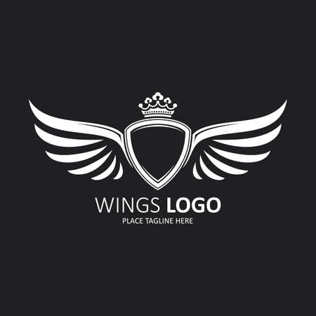 Winged shield white with a crown. Icon template