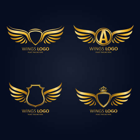 Set of gold heraldic winged shields in different shapes with crowns and Initial Letter A icon